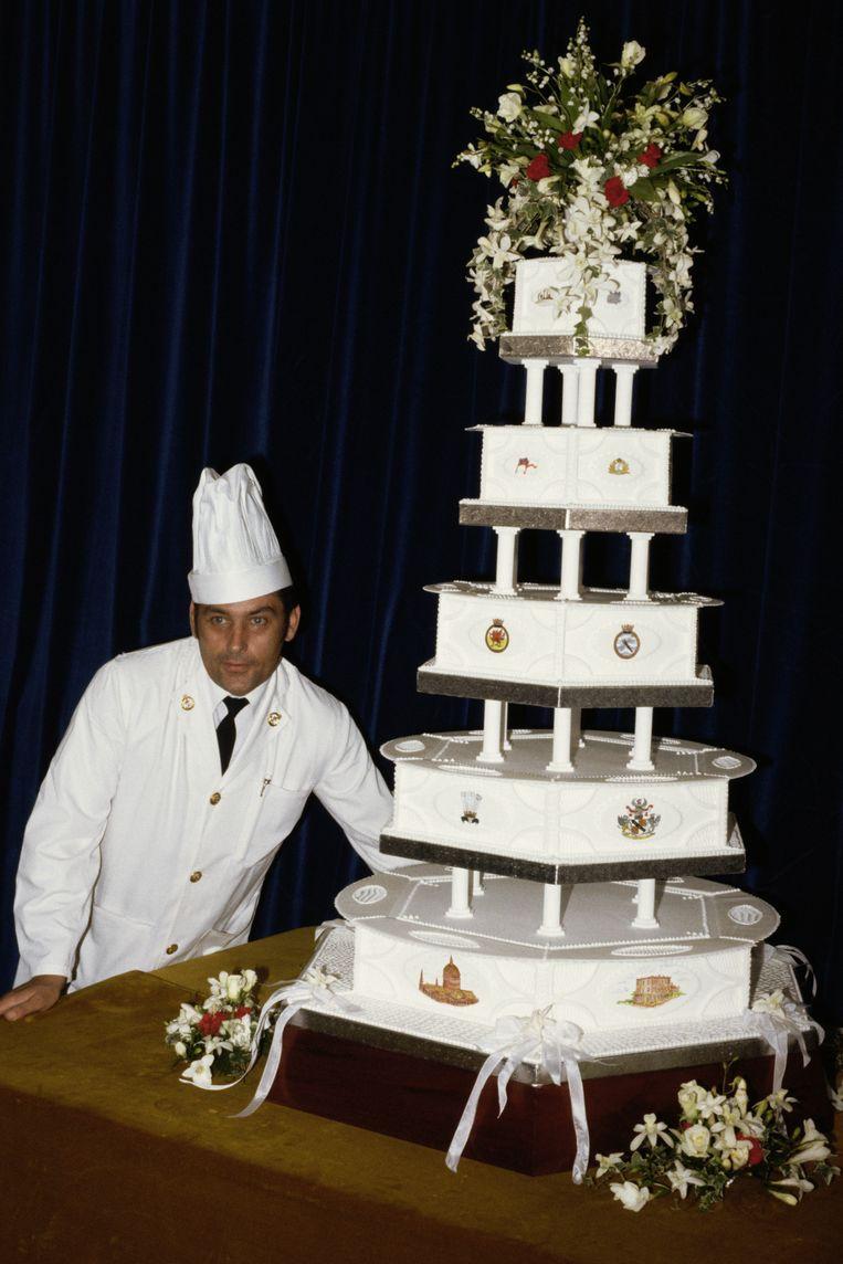 De bruidstaart van Charles en Diana op de heugelijke dag zelf. Beeld Getty Images