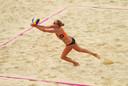 Beachvolleybalster Sanne Keizer.
