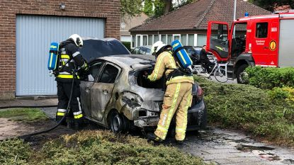 Auto brandt uit op oprit van woning