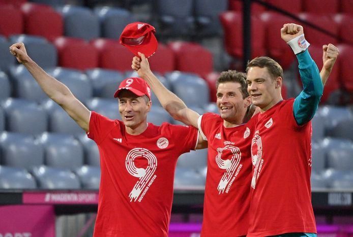 Lewandowski, Müller en Neuer zetten het negende titelfeest op rij in.