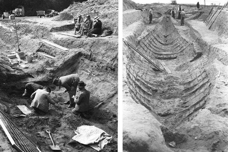 De opgraving van Sutton Hoo in 1939, met op de linkerfoto rechtsboven landeigenaar Edith Pretty als een van de toeschouwers. Beeld Hollandse Hoogte / PA Media