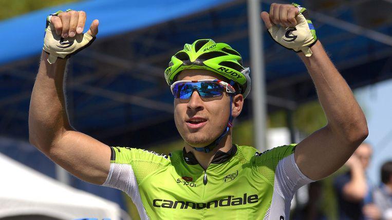 Peter Sagan viert zijn overwinning in de derde etappe in de Ronde van Californië. Beeld ap