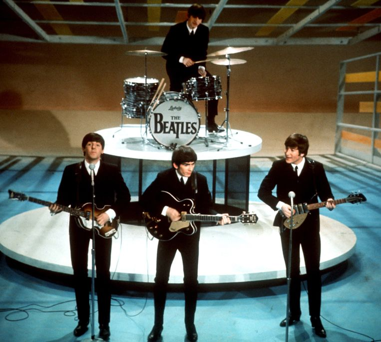The Beatles in betere tijden, tijdens de 'Ed Sullivan Show' in 1964. Beeld AP