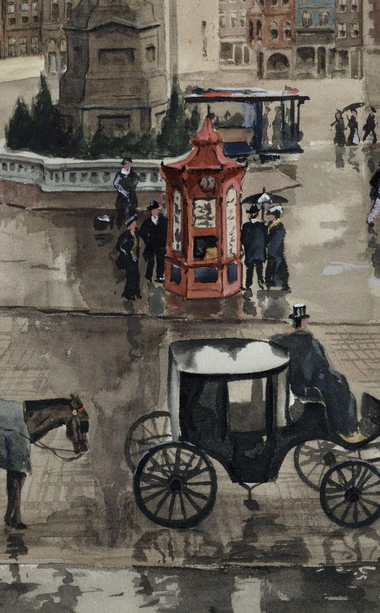 DETAIL M.J. De Jongh, De Dam voor de grote afbraak van 1912, gezien vanaf het balkon van het Paleis, 1912 Beeld Stadsarchief Amsterdam
