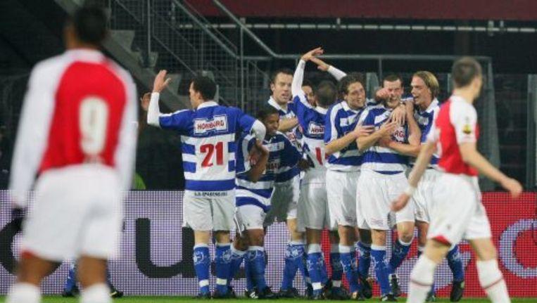 Vreugde bij Spakenburg na de 1-0 van Danny van den Meiracker. Foto ANP Beeld