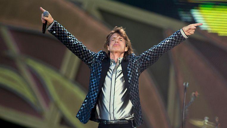 Mick Jagger tijdens het optreden van de Rolling Stones op Pinkpop in 2014. Beeld anp