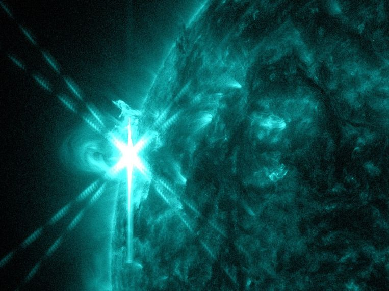 De zonnevlam op een golflengte van 131-angström. Beeld NASA