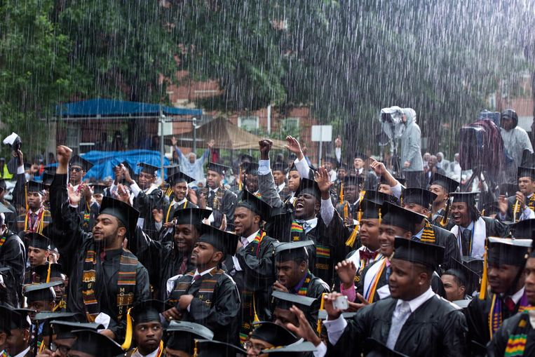 Toespraak bij Morehouse College in Atlanta. Beeld Pete Souza / The White House