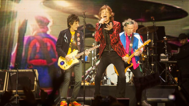 De Stones zondag tijdens een optreden in Macau, China. Beeld epa