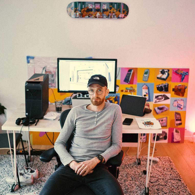 Bert Dries (Musketon): 'Als je twee maanden geleden een werk van mij kocht voor 20 ethereum, toen 40.000 dollar, dan is dat nu 100.000 dollar waard.'  Beeld Thomas Sweertvaegher