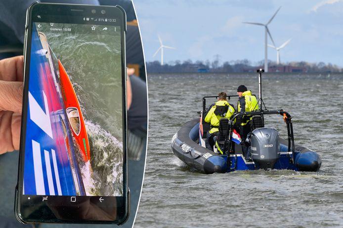 Al vijf dagen zoekt de politie op het Wolderwijd naar een 27-jarige man uit Ermelo. Zijn kano (links) werd zaterdag gevonden in de vaargeul tussen Strand Horst en Zeewolde.