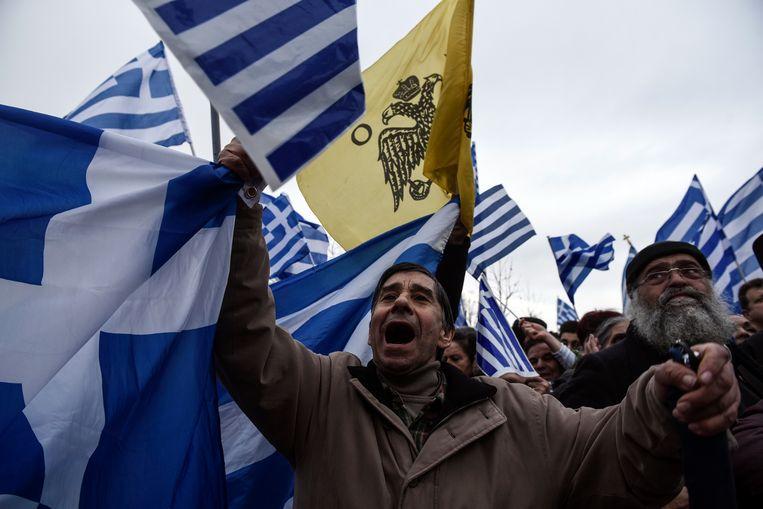 Twee weken geleden protesteerden in Thessaloniki tienduizenden Grieken al tegen 'Macedonië.' Beeld AP