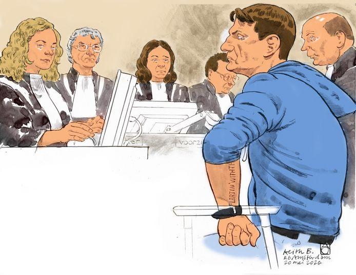 Een rechtbanktekening van Keith Bakker.