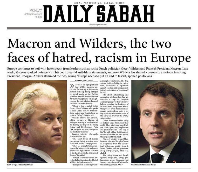 De voorpagina van de Daily Sabah met Wilders en Macron als 'de gezichten van de haat'. Beeld