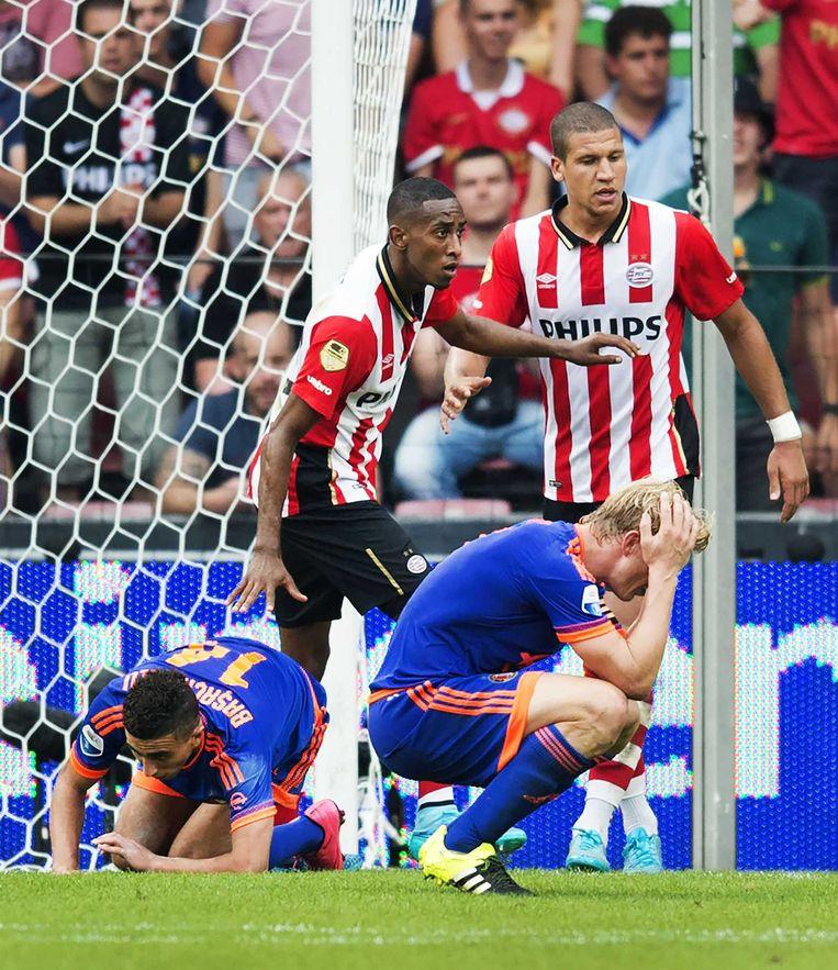 Dirk Kuyt van Feyenoord reageert teleurgesteld na een gemiste kans. Beeld anp