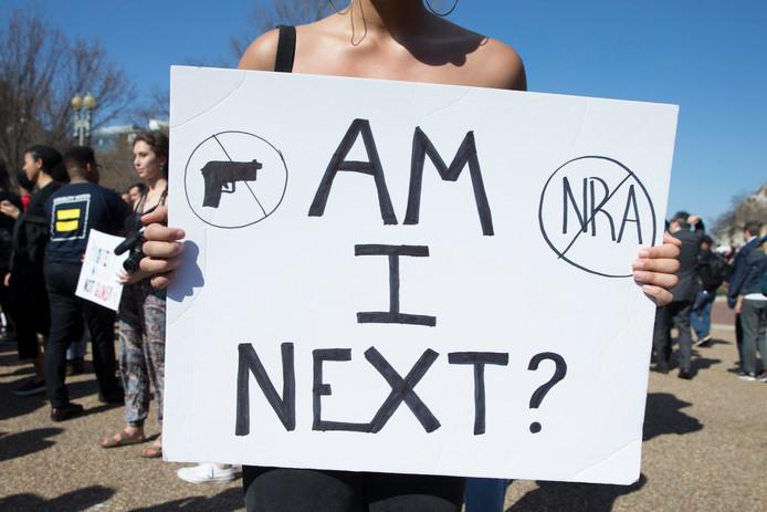 Een studentenprotest aan het Witte Huis in Washington in februari vorig jaar na de dodelijke schietpartij op een school in Parkland, Florida.