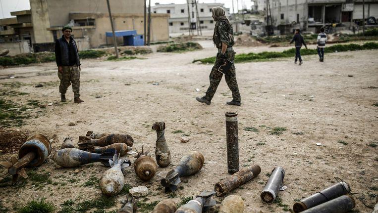 Kobane in Syrië, een stad die tot januari in handen was van IS. Beeld ANP