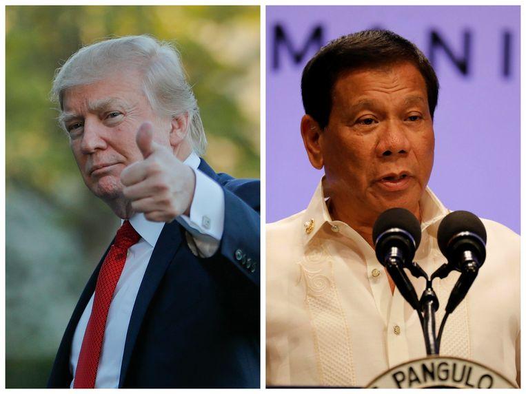 Amerikaans president Donald Trump en zijn Filipijnse collega Rodrigo Duterte. Beeld AP / Reuters
