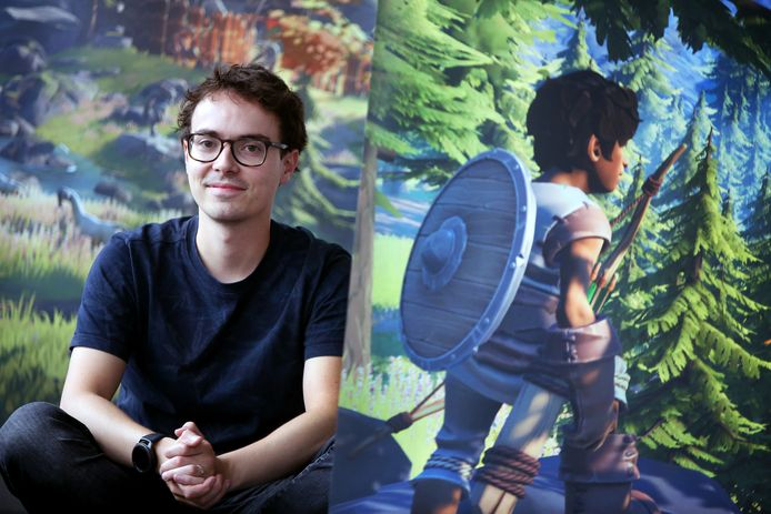 Game-designer Matthijs van de Laar, in de wereld van het door Twirlbound ontworpen spel 'Pine'.