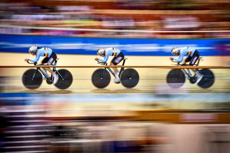 De Belgische achtervolgingsploeg tijdens de Europese Spelen in Minsk, vorige maand. Beeld BELGA