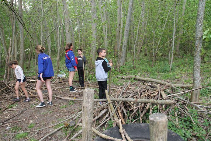 Kinderen konden een kamp bouwen.