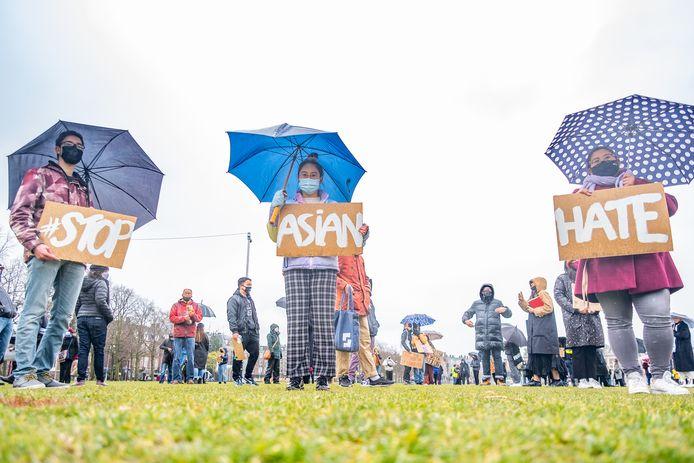 Betoging tegen anti-Aziatisch racisme.