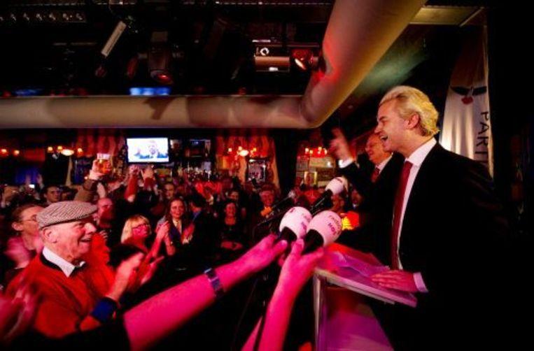 Geert Wilders spreekt zijn aanhang toe in het Get Down cafe in Almere. ANP Beeld
