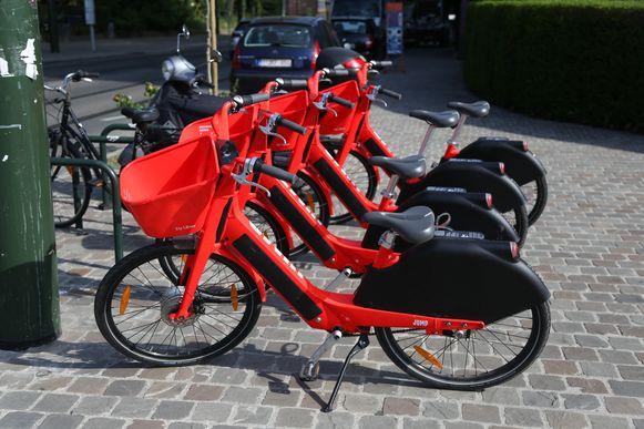 Brussels, BELGIUM 22th July 2019. Jump fietsen van Uber te huur in Brussel. Vélos à louer Jump de Uber à Bruxelles.