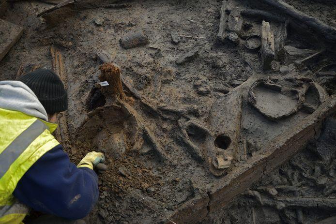 Een archeoloog aan het werk, foto ter illustratie.