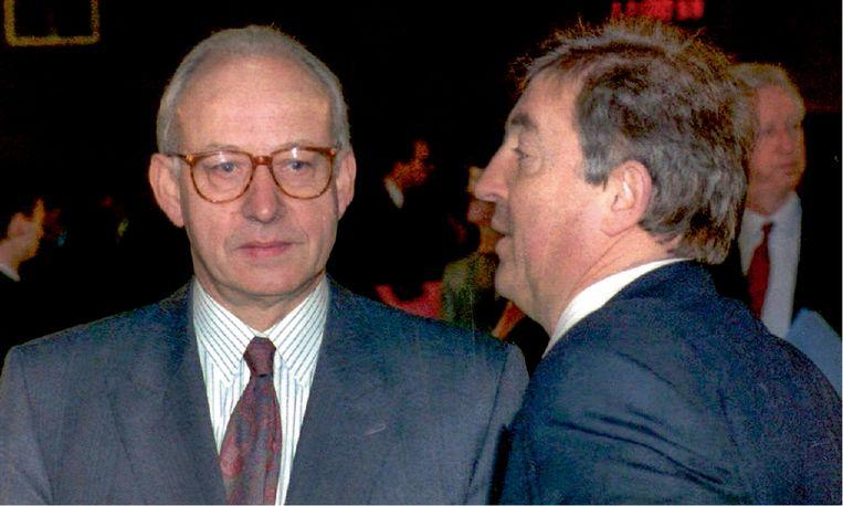 'Guy Spitaels (links) en Guy Mathot (rechts) móéten geweten hebben dat Van der Biest de moord op mijn vader aan het voorbereiden was. Maar ze hebben het laten gebeuren.' Beeld BelgaImage