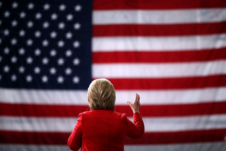Clinton op campagne in Ohio. Beeld
