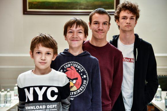 De broers Falco, Arno, Kyaro en Xandro Van Haut.