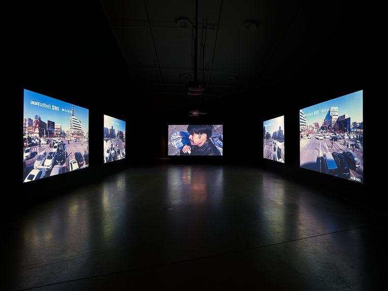 De installatie Close-Up van de Chinese meesterchroniqueur Jia Zhangke. Beeld Hans Wilschut
