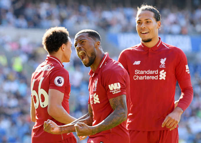 Georginio Wijnaldum schreeuwt het uit van vreugde na zijn goal tegen Cardiff City.