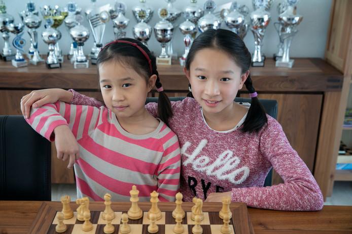 Wendy (rechts) en haar zusje Luna Huang achter het schaakbord. Op de achtergrond een deel van de trofeeën die de zusjes al gewonnen hebben.