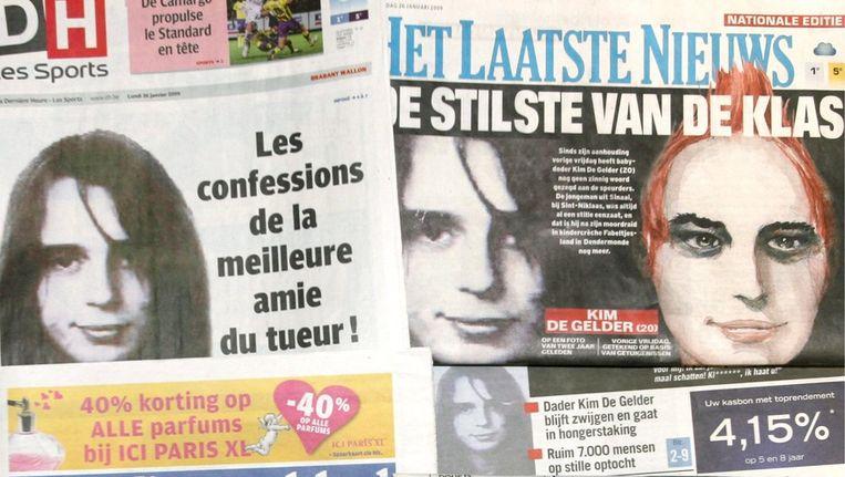 Nieuws over Kim De Gelder in de Belgische media, in januari 2009 Beeld ANP