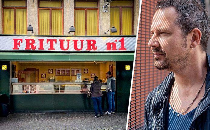 Fotomontage: Frituur Number One in Antwerpen en Axel Daeseleire.