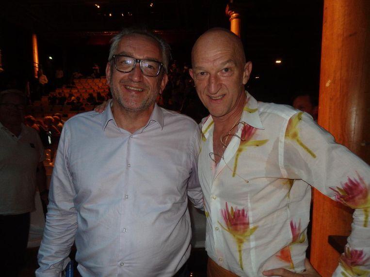 NRC-hoofdredacteur Peter Vandermeersch en de interviewer, Wilfried de Jong: 'Ik denk dat NRC het stickertje nu al aan het maken is' Beeld Schuim