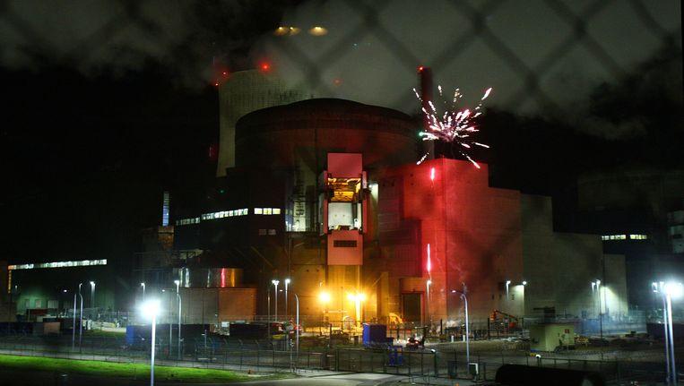 Vuurwerk aan de kerncentrale van Cattenom. Beeld afp