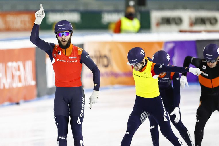 Sjinkie Knegt, winnaar van de 500 meter op het NK. Beeld ANP