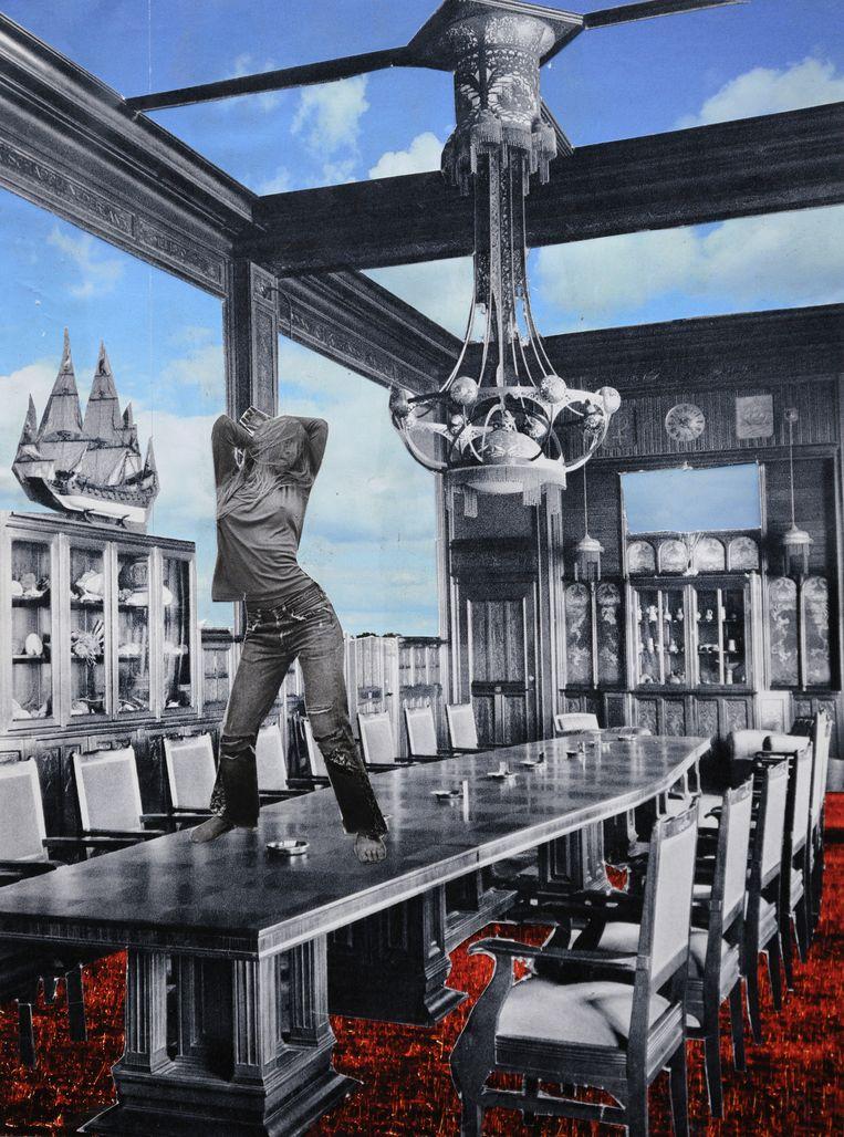 De collages bij dit verhaal zijn van fotograaf Bram Petraeus, die ze maakte als oefening in compositie. Basis waren afbeeldingen uit tweedehands boeken die hij op markten en in de ramsj verzamelde. Petraeus, 'een beetje een dagdromer', ging intuïtief te werk. 'Ze tonen een surrealistische onderbewuste wereld, zoals je die kent uit je dromen.'  Beeld Collage Bram Petraeus