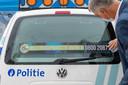 Eén van de nieuwe banners op de politievoertuigen.