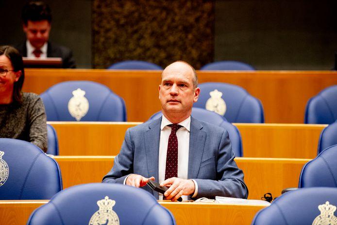 Fractievoorzitter Gert-Jan Segers van de ChristenUnie tijdens het debat over de mislukte formatieverkenning donderdag in de Tweede Kamer.