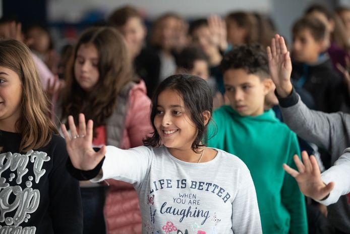 Kinderen van lagere school Boseind doen mee aan de activiteiten.
