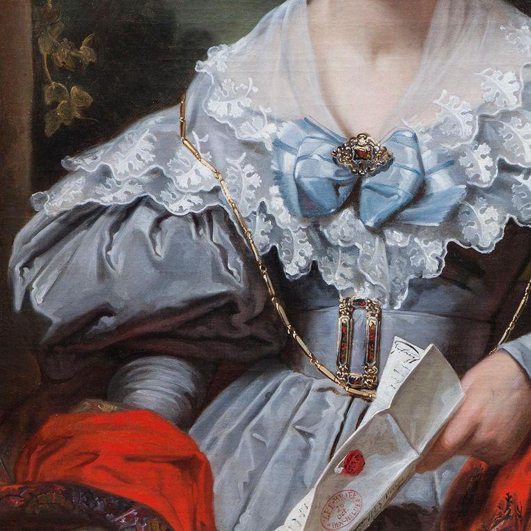 Detail uit: Jan Adam Kruseman, Portret van Henriëtte Clasina Geertruida Vinju-Heije, 1834. Beeld Teylers Museum, Haarlem