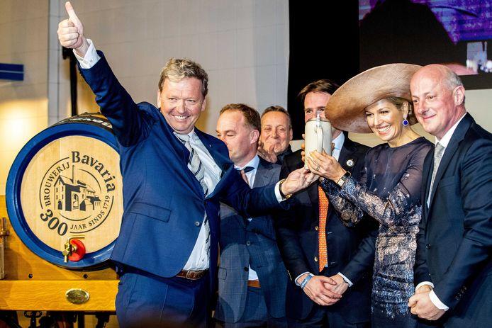 Koningin Maxima tijdens de viering van driehonderd jaar brouwerij Bavaria. Het bedrijf wordt geleid door de zevende generatie van de familie Swinkels.