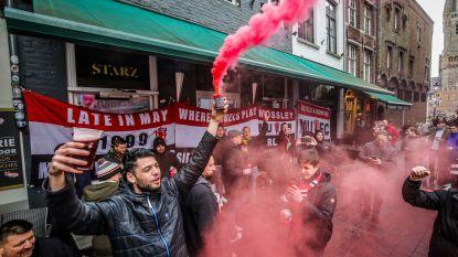 Manchester-fans in Brugse binnenstad, dat is bier, bier en nog eens bier