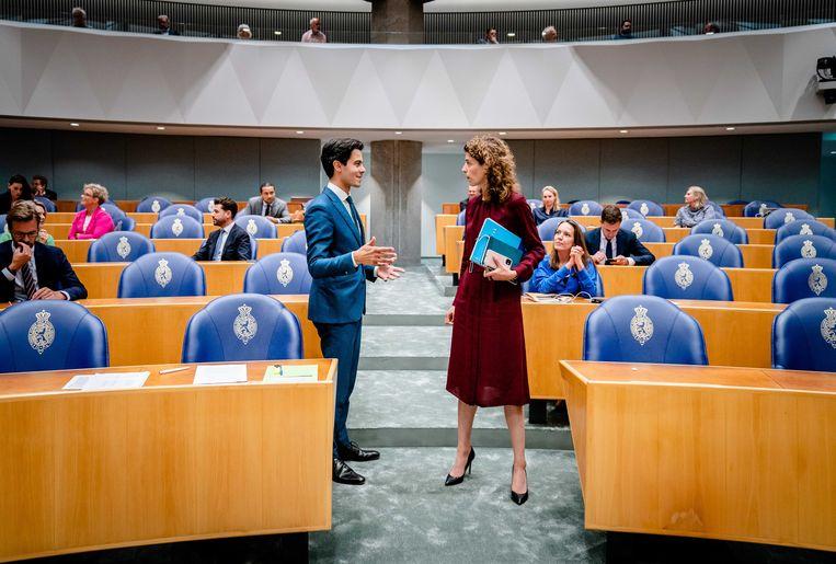 Rob Jetten (D66) en Sophie Hermans (VVD) tijdens de eerste dag van de Algemene Politieke Beschouwingen. Beeld Bart Maat/ANP