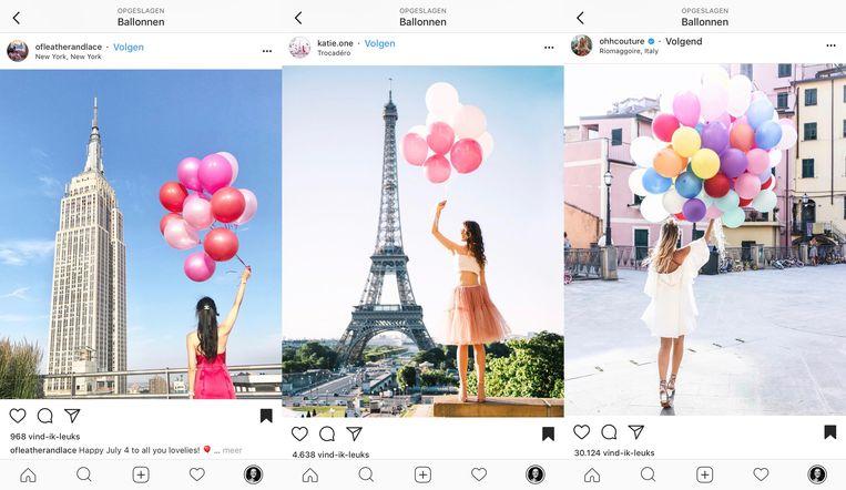 Ballonnen vasthouden is ook een ding. Beeld Instagram