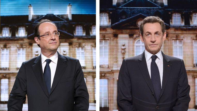 François Hollande en Nicolas Sarkozy Beeld afp